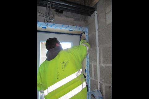 Denby Dale, making the window surrounds airtight